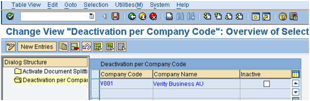Document Splitting deactivate by company code