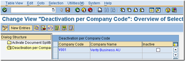 deactivate document splitting by company code