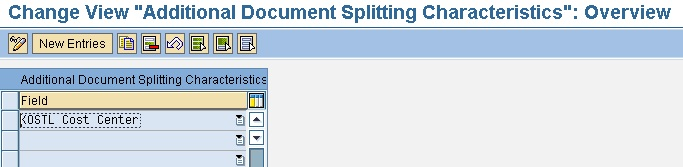 Configuration: CO characteristic for document splitting